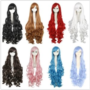 100cm Synthetic Hair Long Curly White Blonde Pink Red Blue Brown Cosplay Wig