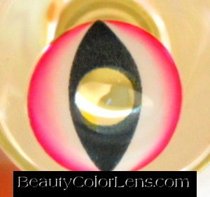 GEO SF-24 CRAZY LENS GLOW PINKY CAT EYES JINX TEEN TITANS HALLOWEEN CONTACT LENS