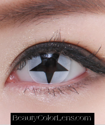GEO SF-32 CRAZY LENS BLACK STAR WHITE HALLOWEEN CONTACT LENS