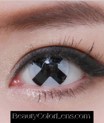 GEO SF-44 CRAZY LENS BLACK CROSS HALLOWEEN CONTACT LENS