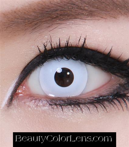 GEO CP-F1 CRAZY LENS PURE WHITE HALLOWEEN CONTACT LENS