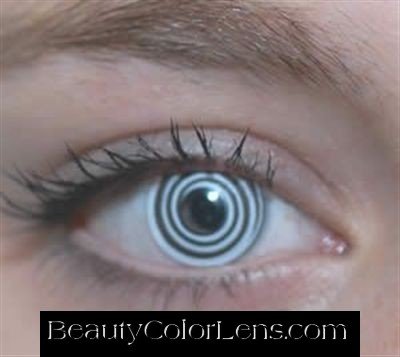 GEO SF-13 CRAZY LENS NARUTO RINNEGAN BLACK AND WHITE HYPNOTIC RING HALLOWEEN CONTACT LENS