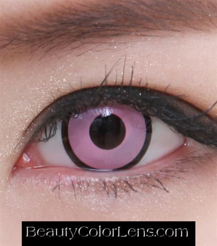 GEO SF-36 CRAZY LENS PINK WITH BLACK OUTLINE HALLOWEEN CONTACT LENS