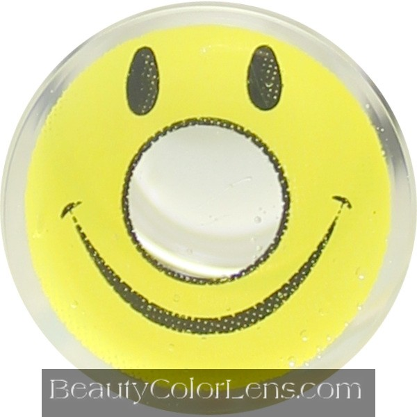 DUEBA CRAZY YELLOW SMILEY HALLOWEEN CONTACT LENS