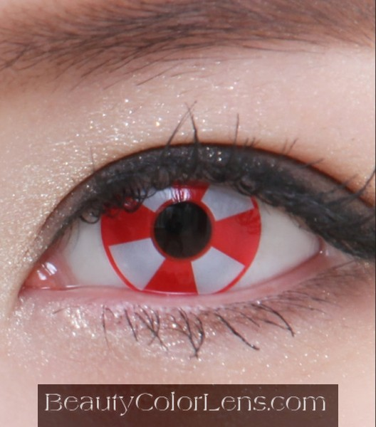 GEO SF-04 CRAZY LENS RED AND WHITE HALLOWEEN CONTACT LENS
