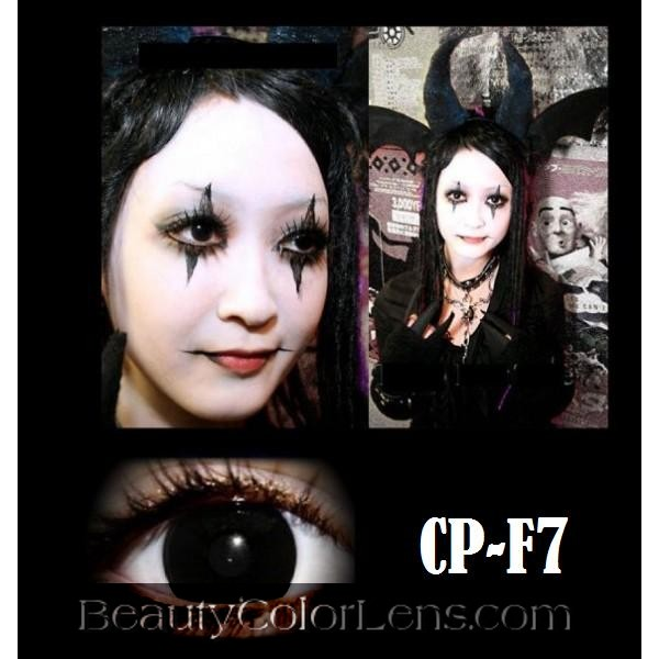 GEO CP-F7 CRAZY LENS SOLID BLACK OUT HALLOWEEN CONTACT LENS