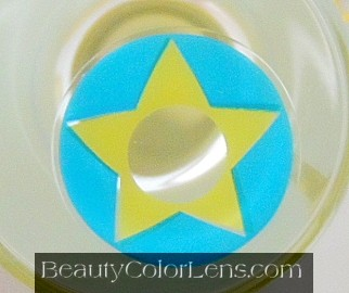 GEO SF-03 CRAZY LENS BLUE & YELLOW STAR TERROR EYES HALLOWEEN CONTACT LENS