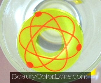 GEO SF-08 CRAZY LENS ATOMIC SYMBOL BRIGHT YELLOW HALLOWEEN CONTACT LENS