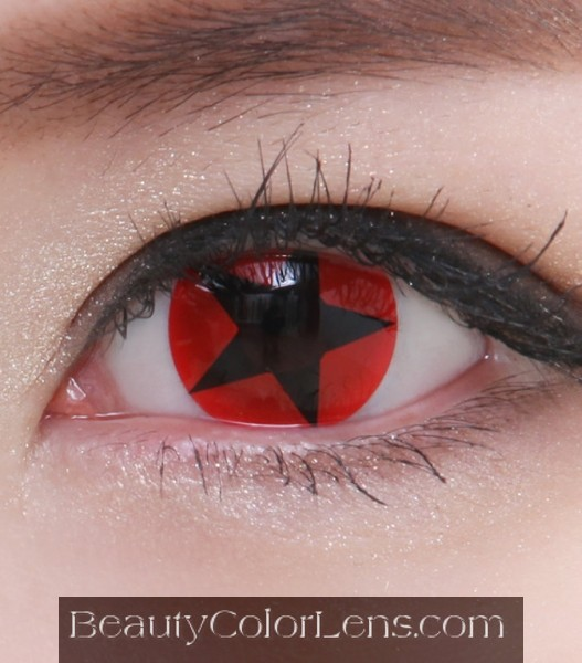 GEO SF-27 CRAZY LENS RED BLACK STAR HALLOWEEN CONTACT LENS