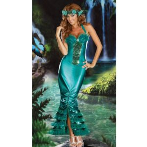 Adult Mermaid Fantasia Halloween Costumes for Party Sexy Women Carnival Fancy Dress+Headwear