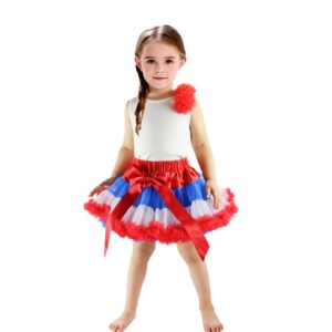 American style Stars and Stripes printed Independence day girls costume lace bow tutu skirt