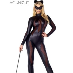Black Catwoman Jumpsuit Faux Leather Full Sleeve Catsuit