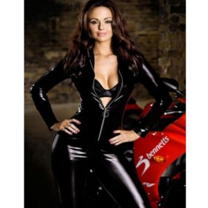 Black Catwomen Faux Leather Catsuit Costumes for Women