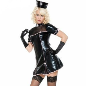Black Faux Leather Adult Halloween Role Playing Sexy Nurse Costumes For Women