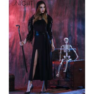Black Queen Dress Halloween Costumes for Women Sexy Vampire Witch Cosplay Carnival Princess Costume