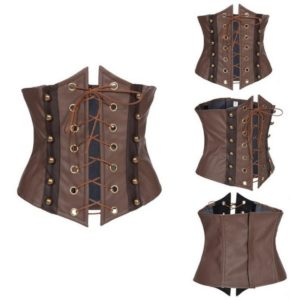 Brown Synthetic Leather Lace Up Sexy Corset Hollow Out Underbust Corset