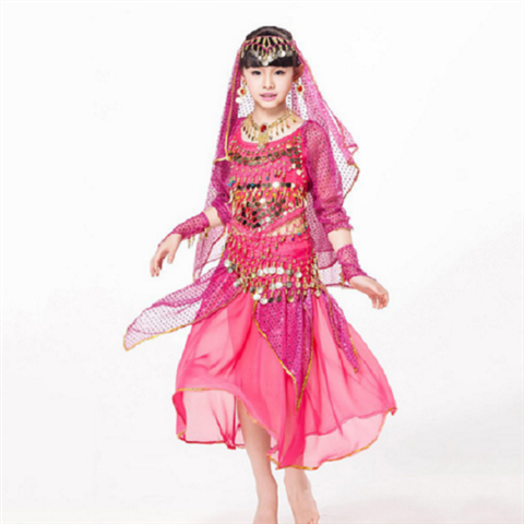 Children's Day Belly Dance Indian Child Costume Chiffon Coins Belt, Dance Pants Kids Indian Dance Costumes