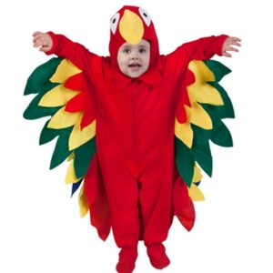 Children Christmas Costume Colorful Red Parrots Jumpsuit Animals Birds Cosplay Costume