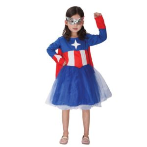 Children Cosplay Captain America Costume Kids Girls Anime Fancy Dress