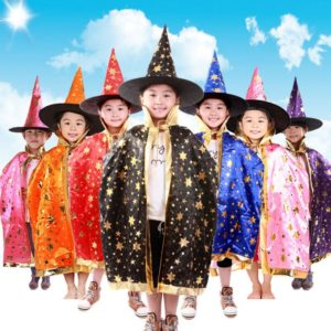 Children Halloween Costumes Witch Wizard Cloak Gown Robe and Hat Cap Stars Fancy Cosplay