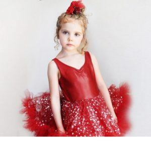 Christmas dress Beautiful pearlite layer with bling star lace mesh tutu ruffle girl new year party dress