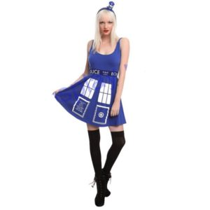 DOCTOR WHO HER UNIVERSE TARDIS cosplay COSTUME DRESS Police telephone slim blue dress halloween costumes for women Christmas