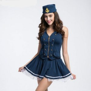 Deep V Navy Costume with Zipper