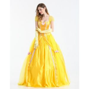Fantasia Women Halloween Cosplay Southern Beauty And The Beast Adult Princess Belle Costume Yellow Long Dress