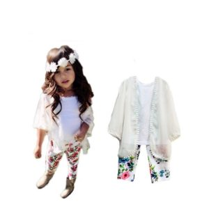Fashion Icon Girls outfits Chiffon coat+Vest +Floral Pants clothing sets all for kids