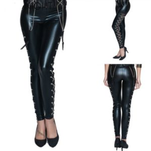 Faux Leather Black Lace Up Leggings Hollow Out Clubwear Fashion Gothic Pants For Ladies