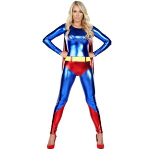 Faux Leather Supergirl Cosplay Blue with Red Women Superwomen Costumes