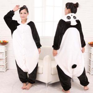 Flannel cartoon Kung Fu Panda sleepwear animal bodysuit lovers sleepwear male Women lounge