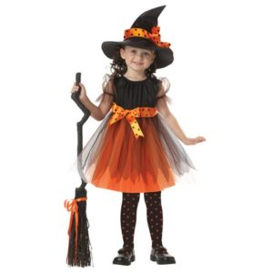Girl Witch Dress + Hat Cap Princess Party Dresses Tutu Baby Kids Children Clothing Carnival Halloween Cosplay Costume