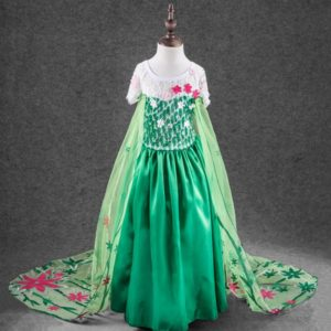 Girl clothes Fever Elsa Anna Dress,Cinderella Princess Dress,Cosplay Party Vestido Dress,Kid green Elsa Costume Dresses