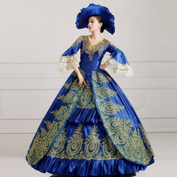 Gothic Victorian Evening Dresses Dark Blue Long Royal Court Palace Costume
