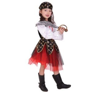 Halloween Christmas Pirate Costumes Girls Party Dress Cosplay Costume for Kids Clothes Game Uniforms with Scarf