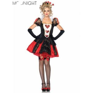 Halloween Costumes Adult Womens Poker Red Queen of Hearts Costume Dress Carnival Party Queen Costumes for Women