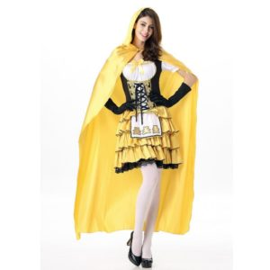Halloween Costumes Women Ghost Party Role Playing Witch Cape Yellow Dress Gloves