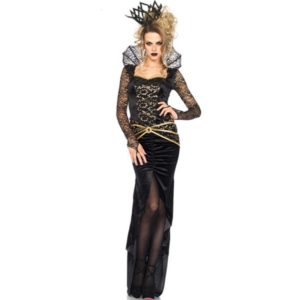Halloween Vampire Costumes For Women Sexy Witch Costumes Long Dress with Lace