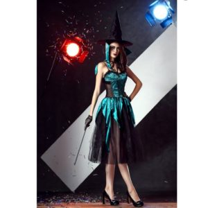 Halloween Witch Costume For Women Long Dress Cosplay Gothic Witch Clothes Outfits