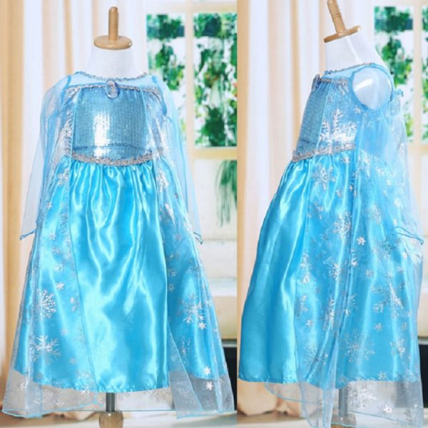 High Quality Girls Princess Anna Elsa Cosplay Costume Kid's Party Dress