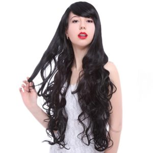 Lady 75cm Long Wavy Synthetic Hair Black Gothic Lolita Cosplay Wigs