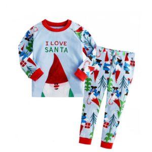 Letter I Love Santa printed with christmas tree pants long sleeve christmas pajamas