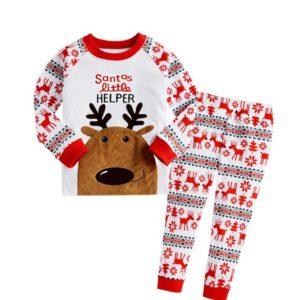 Letter Santa little helper printed with snowflower pants long sleeve christmas pajamas