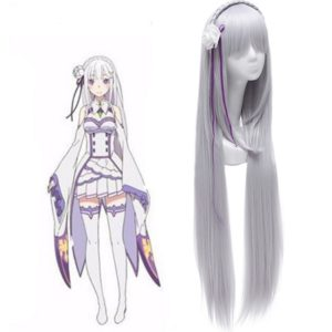Life in a different world from zero Emilia Cosplay Wigs Long Silver Synthetic Hairs