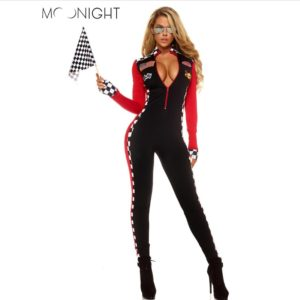 Long Sleeve Sexy Uniforms Race Car Driver Halloween Costumes For Women Deep V Sexy Game Uniforms Clothing Jumpsuits
