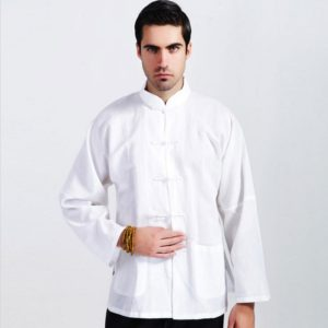 Male spring and autumn top tang suit shirt long-sleeve chinese style vintage tai chi clothing white basic shirt