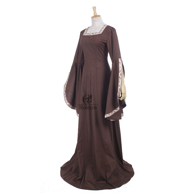 190742471fe8 Medieval Renaissance Victorian Dresses Brown Satin Ball Gowns For Ladies  Masquerade Queen Costumes · Medieval ...