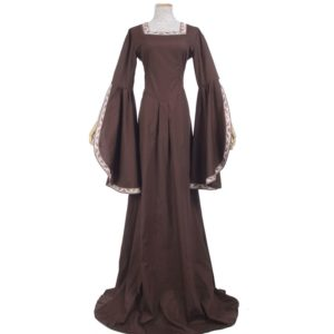 Medieval Renaissance Victorian Dresses Brown Satin Ball Gowns For Ladies Masquerade Queen Costumes