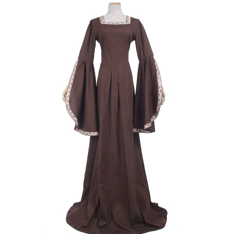 8a8d7453153d Medieval Renaissance Victorian Dresses Brown Satin Ball Gowns For Ladies  Masquerade Queen Costumes - BeautyColorLens.com